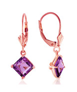 3.2 CTW 14K Solid Rose Gold Amethyst Simplicity Earrings - $185.29