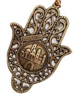 Artistic golden metal hamsa Jerusalem old city 3D design tower of David ... - £12.92 GBP