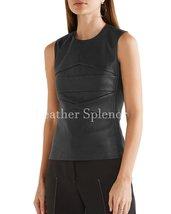 Paneled Sleeveless Women Leather Top