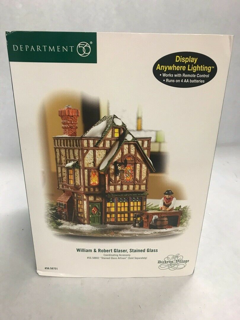 Primary image for Vintage Department 56 box Dickens Village William Roberts Glaser Stain Glass box