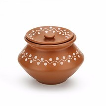 White Dotted Brown Ceramic Clay Cooking Dahi handi set of 2 by himalayan... - £29.91 GBP