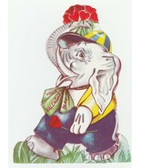 Vintage Valentine Card Dressed Elephant With Bouquet of Hearts 1950's Un... - $9.89
