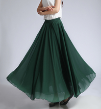Women MAXI Chiffon Skirt DARK GREEN Silky Chiffon Maxi Skirt Beach Wedding Skirt image 4