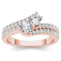 IGI Certified Genuine 14K Rose Gold 1.00 Ct Diamond Two Stone Engagement... - $1,209.99