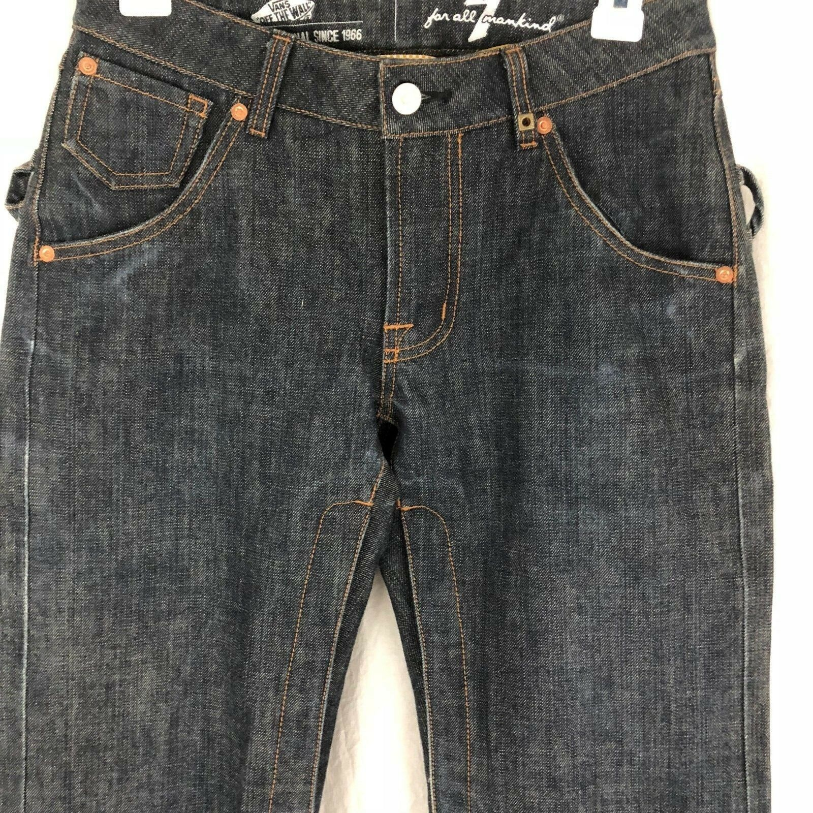 Vans X 7 For All Mankind Snowboard Pants Denim Indigo Jeans Flare Vintage 28/30