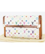 Auth LOUIS VUITTON White Multicolor Porte Tresor International Wallet #3... - $195.00