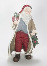 "10"" Tall Santa Claus Figurine w/Tan Coat & Red Hat Holding A Tree & Packages - $24.70"