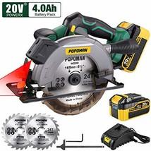 POPOMAN Cordless Circular Saw, 4300 RPM, 20V 4.0Ah Battery, Fast Charger... - $129.99