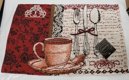 "Set Of 4 Tapestry Kitchen Placemats, 13"" X 19"", Coffee Cup & Silverware - $19.79"