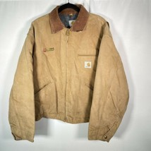 Carhartt Sz 3XL Brown Duck Canvas Blanket Lined Work Jacket Stains Missi... - $65.09