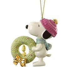 Lenox Snoopy's Christmas Wreath Ornament Figurine Woodstock Peanuts NEW ... - $99.00