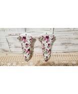 Pair ceramic porcelain wall pockets vase cottage shabby romantic roses d... - $29.00