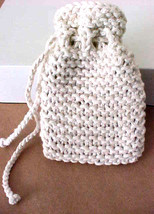 "Hand-Knit Drawstring Bag 5""L x 3 1/4"" W Light Tan ~ Take-a-Long for Esse... - $7.28"