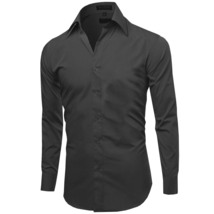 Omega Italy Men's Premium Slim Fit Button Up Long Sleeve Solid Color Dress Shirt image 13