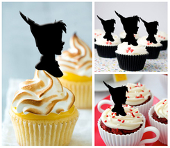 Ca66 Wedding,Birthday cupcake toppers,silhouette peter pan Package : 10 pcs - $10.00