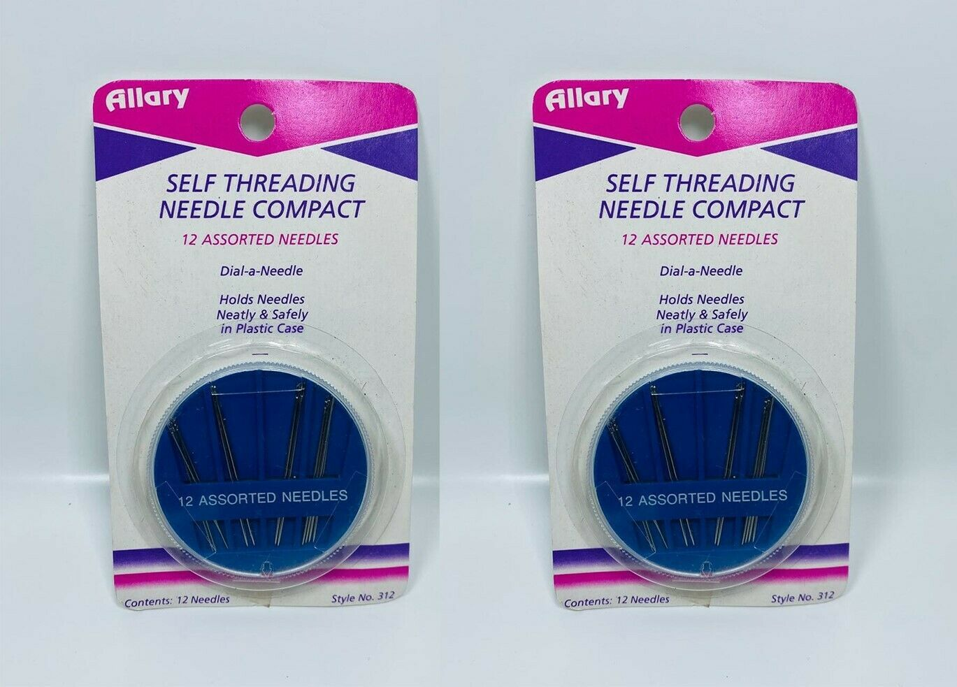 LOT OF 2 Allary Self threading Needle Compact 12 Assorted Needles - $6.92