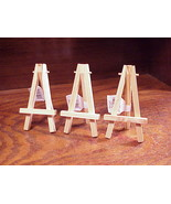 Lot of 3 Wooden Mini Easels, made of Pine Wood, no. 835100010, with tags - $5.95