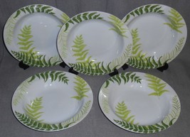 Set (5) Tachikichi ADAM & EVE - FERN PATTERN Rimmed Flat Soups MADE IN J... - $39.59
