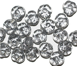Gray Silver Flat Flower Czech Pressed Glass Beads 8mm (pack of 20) - $6.47