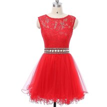 Tulle Scoop Beading Homecoming Dress Short Formal Prom Dress Lace for Ju... - $128.00