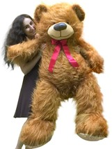 5 Foot American Made Giant Brown Teddy Bear 62 Inches Soft Made in USA - $143.21
