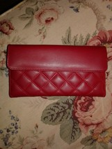 NWOT BUXTON - beautiful quilted RED genuine LEATHER wallet, New, $59 - $23.43