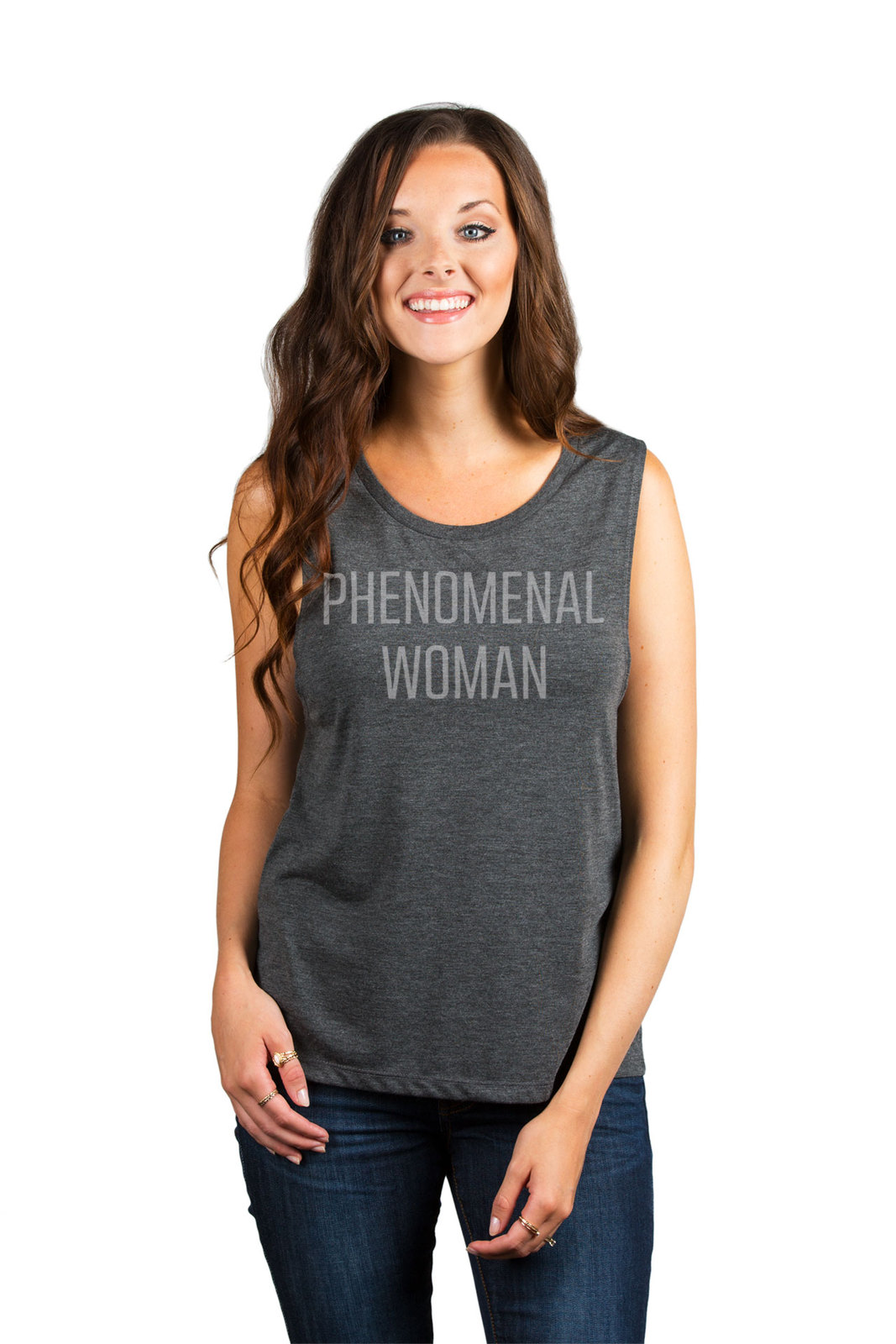 Thread Tank Phenomenal Woman Women's Sleeveless Muscle Tank Top Tee Charcoal Gre