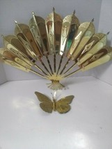 Home Interior Brass Wall Art Hangings Decor  Butterfly & Fan Goldtone - $11.88