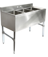 Commercial Heavy Duty Sink Kitchen Bar Three 3 Compartment Stainless Steel - $392.95