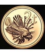 Papua Nuevo Guinea 2 Toea , 1975 Joya UNC ~ Raro 4,134 Menta ~ León Pescado - $10.31