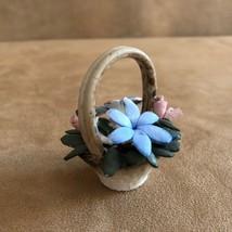 Vintage Capodimonte Italian Porcelain Basket pink miniature Flower figur... - $21.50