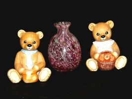 HOMCO Bears and a blown glass Vase AA-191708 Vintage Collectible 3 Pieces image 3