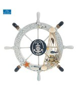 Wooden Steering Wheel Ship Boat Wall Art Hanging Sailing Nautical Home D... - $15.25