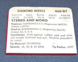 RECORD PLAYER NEEDLE for Euphonics E7 180 for Zenith 142-110 142-111 460-D7 image 2