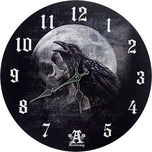 Primary image for Pacific Giftware Poe's Raven's Skull Curse Wall Clock by Alchemy Gothic Round Pl