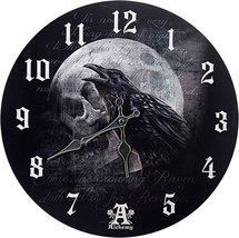 Pacific Giftware Poe's Raven's Skull Curse Wall Clock by Alchemy Gothic ... - $19.79