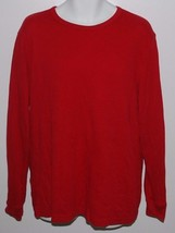 Chaps Red Thermal Knit Long Sleeve Shirt Mens Large Sleepwear Crew PJS Size L - $14.80