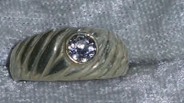 Vintage clear CZ sterling silver size 6.5 ring Downton Abbey man or woman - $45.50
