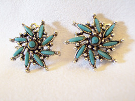 Spiral TURQUOISE Navette Silver Plated Clip Earring PETIT POINT Blue Vin... - $14.84