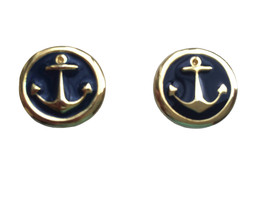 70s Navy Blue Gold Enamel Nautical Ahoy Sailor Anchor Design Button Clip... - $21.00