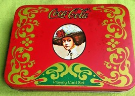 Coca Cola Playing Cards & Bridge Score Pads Tin Box Complete Box Set 2 D... - $6.99