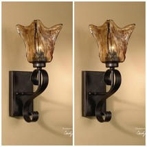 "TWO NEW 15"" BRONZE HAND MADE GLASS DARK IRON WALL SCONCE LIGHTS TUSCAN S... - $259.60"