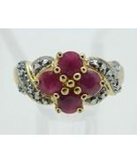 Roman Signed .925 Sterling Silver Gold Vermeil Pink Gemstone Vintage Siz... - $49.49
