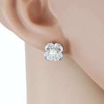 UE- Silver Tone Designer Earrings With Faux Pearl & Swarovski Style Crystals - $15.99