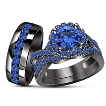 Black Gold Finish 925 Silver Round Cut Blue Sapphire Men's Women's Trio ... - $167.98