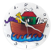 Hand painting Noah's Ark&Hebrew Alphabet Wall Clock Israeli designer.Fib... - $43.47