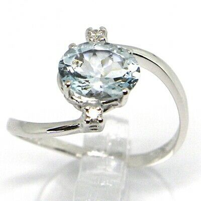 18K WHITE GOLD BAND RING AQUAMARINE 1.25 OVAL CUT & DIAMONDS, MADE IN ITALY