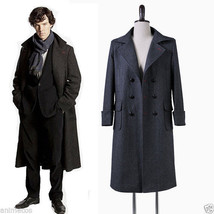 Sherlock Holmes Wool Trench Coat Costume Long Cape Outfit - $142.37