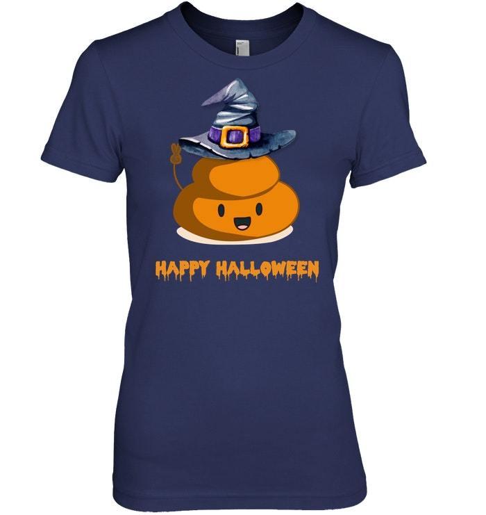 Funny Happy Halloween Cute Witch Poop Emo Tshirt
