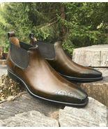 New Men,s Handmade Half Ankle Dark Brown Chelsea Patina Side Elastic Sli... - $149.99+
